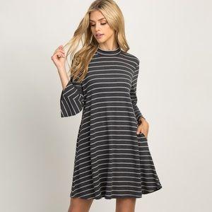 Charcoal Striped 3/4 Sleeve Mock Neck Swing Dress